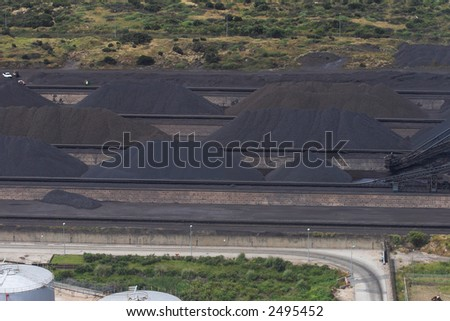 Manganese, Coal or any other mined mineral dumps - stock photo