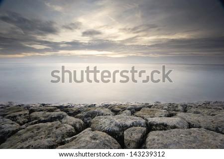 Mangening Beach, Bali - long exposure - stock photo