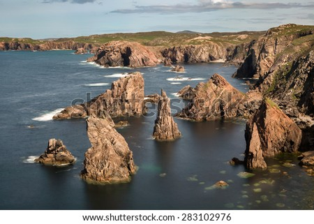 Mangersta or Mangurstadh beach and sea stacks on the Isle of Lewis and Harris, Outer Hebrides, Scotland. - stock photo