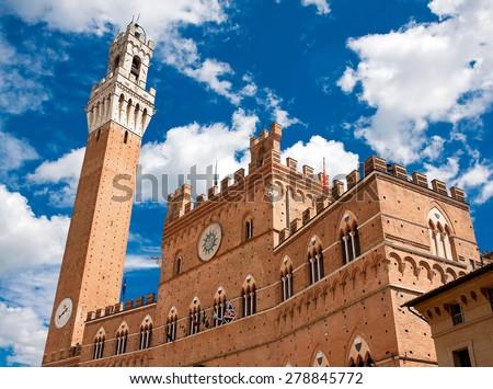 Mangia Tower, Siena, Italy  - stock photo