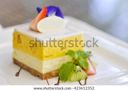 mango cheese cake dish on the table