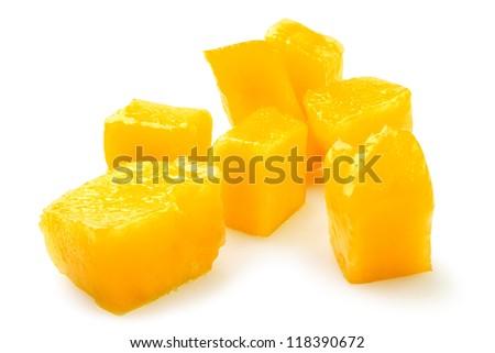 mango chunks on white background - stock photo