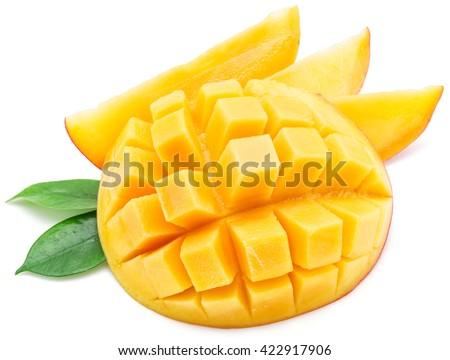 Mango cubes and mango slices. Isolated on a white background. - stock photo