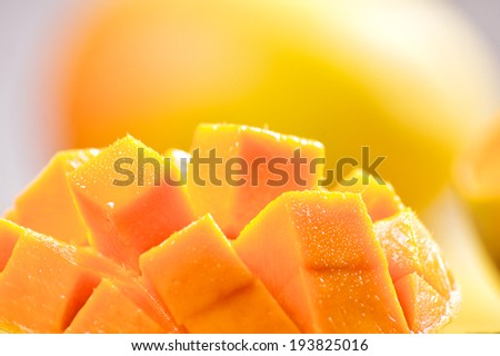 Mango cubes / slices close up / Macro - stock photo