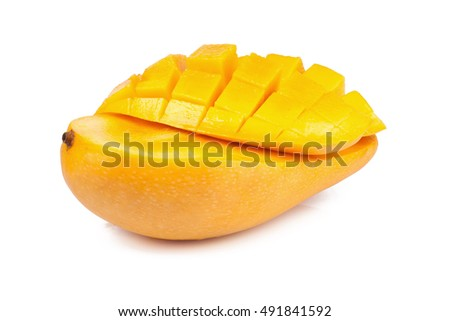Mango fruit isolated on white background.