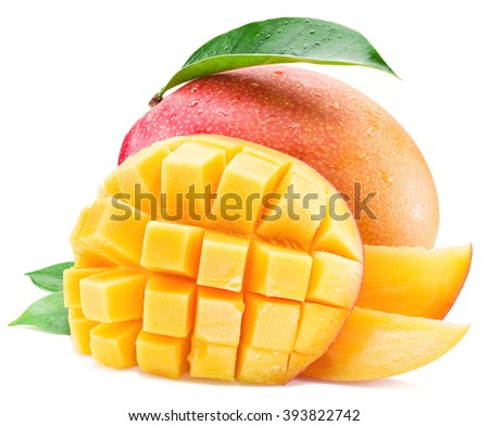 Mango fruits with water drops. Isolated on a white background. - stock photo