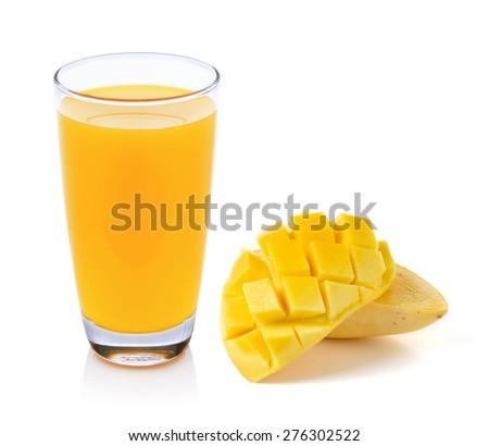 Mango Juice and mango isolated on white background - stock photo