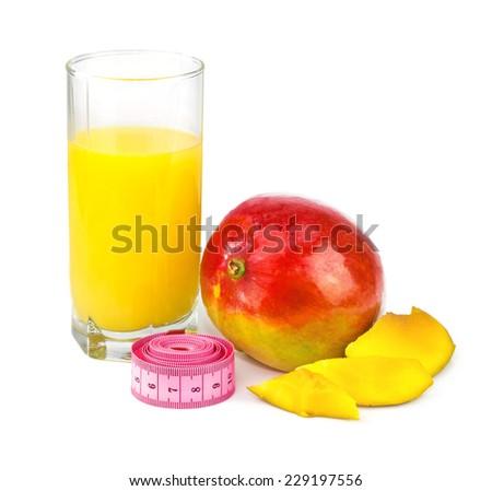 Mango juice in glass, mango fruit with centimeter isolated on white background - stock photo