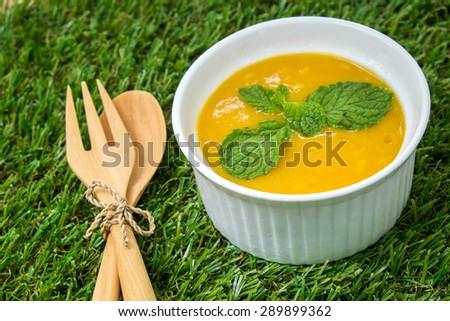 Mango Panna Cotta - stock photo