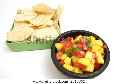 mango salsa & chips on top