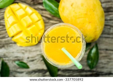 Mango shake. Fresh tropical fruit smoothies - stock photo