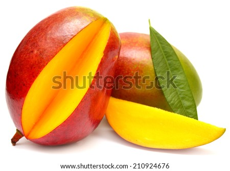 Mango with leaf and slices isolated on white background - stock photo