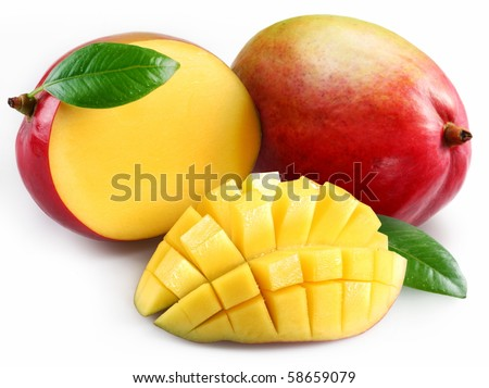 Mango with section on a white background - stock photo