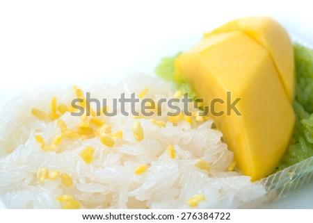 Mango with sticky rice, Thai dessert - stock photo