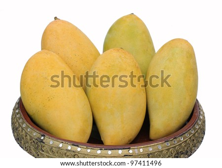 Mangoes on container Thai style - stock photo