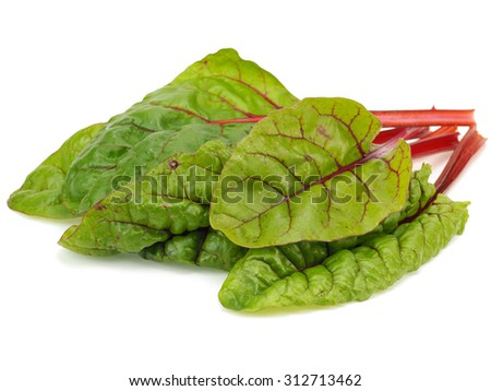 Mangold or Swiss chard leaves on a white background - stock photo