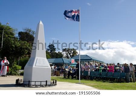 MANGONUI, NEW ZEALAND - APRIL 25 2014: The  National War Memorial Anzac Day Service in Mangonui New Zealand. - stock photo