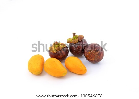 mangosteen and mango on a white background, closeup of photo