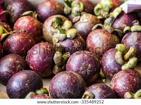Mangosteen exotic Thai fruits, Thailand  - stock photo