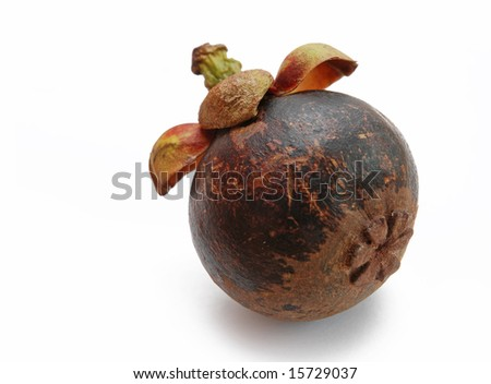 Mangosteen (Garcinia mangostana) fruit isolated on white background.