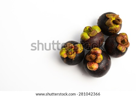 Mangosteen isolated on the white background.Queen of friut.