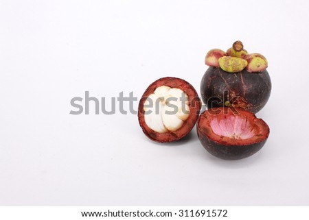 Mangosteen on white background