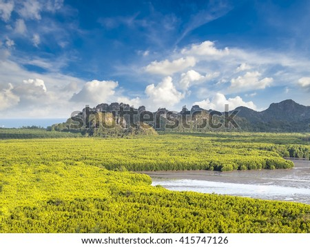 Mangrove forest and mountain with clouds and blue sky at Tungmaha bay, Chumporn, Thailand.