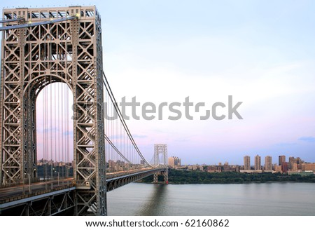 Manhattan and the George Washington Bridge as viewed from Fort Lee, NJ.  River shown is the Hudson River.  Photographed June, 2007 in the USA. - stock photo