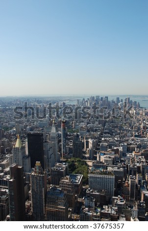 Manhattan as seen from Empire State Building - stock photo