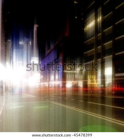 MANHATTAN AT NIGHT - CENTER OF ATTENTION - stock photo