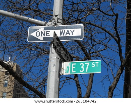 Manhattan background - Street signs on New York City 37th Street. - stock photo