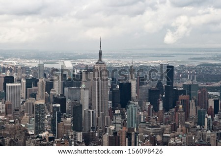 Manhattan bay from a helicopter, New York, USA - stock photo
