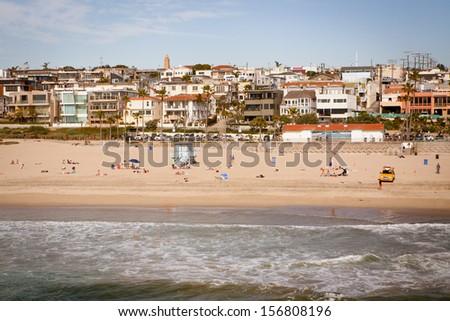 Manhattan Beach on a warm sunny day in Los Angeles, California, USA - stock photo