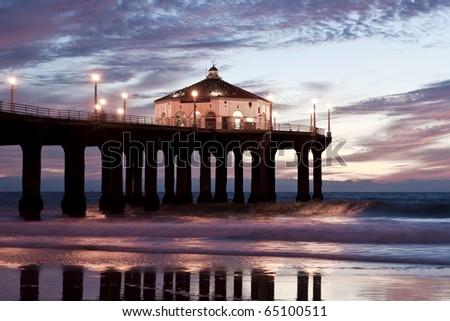 Manhattan Beach Pier Blue Hour Sunset - stock photo