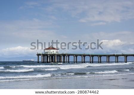 Manhattan Beach Pier California Partly Cloudy Day - stock photo