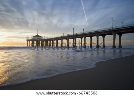 Manhattan Beach Pier Gentle Backwash - stock photo