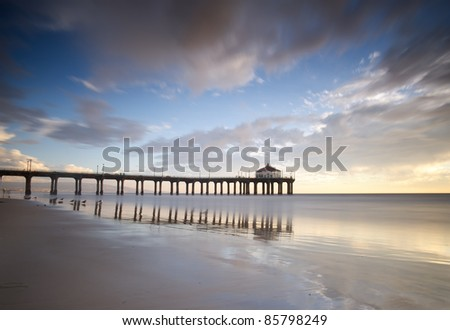 Manhattan Beach Pier Long Exposure - stock photo