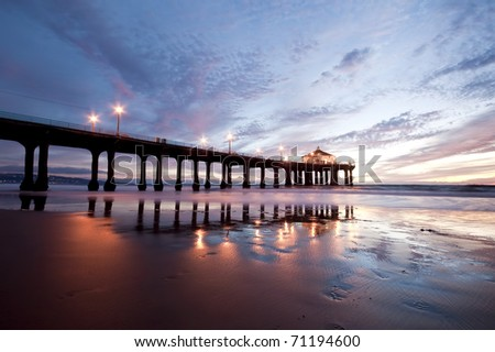 Manhattan Beach Pier Low Tide at Dusk - stock photo