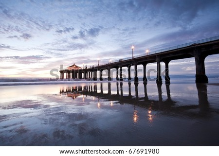 Manhattan Beach Pier Low Tide Wide Angle Reflections - stock photo