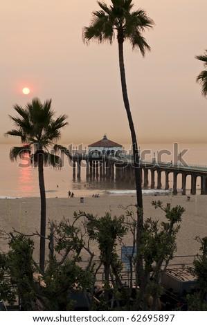 Manhattan Beach Pier Super Smokey from Brush Fires - stock photo