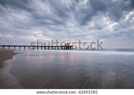Manhattan Beach Pier Wide Angle Dramatic Clouds - stock photo