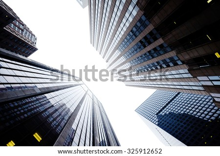 Manhattan beautiful top view with big buildings, New York, USA. Manhattan downtown view with skyscrapers, NYC. Top of the buildings in financial district. Business background. - stock photo