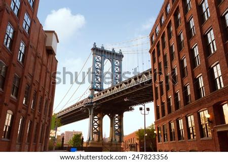 Manhattan Bridge New York NY NYC from Brooklyn USA - stock photo