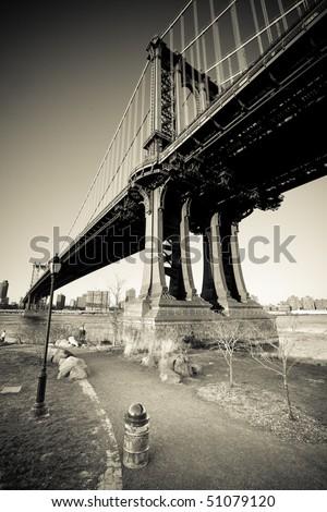 Manhattan Bridge, vintage monochrome - stock photo