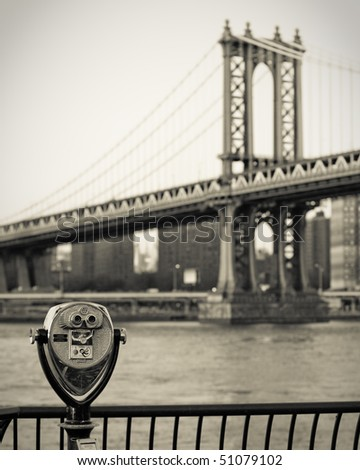 Manhattan Bridge with telescope - stock photo