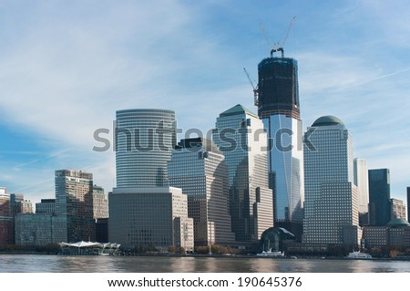 Manhattan cityscape during a sunny day - stock photo