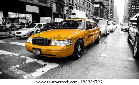 manhattan 15 dec 2011 - typical scenery of a running taxi - stock photo