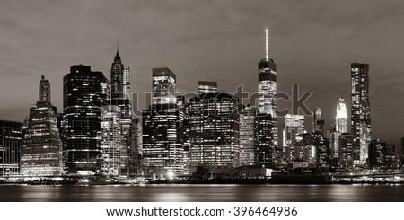 Manhattan Downtown architecture night view - stock photo