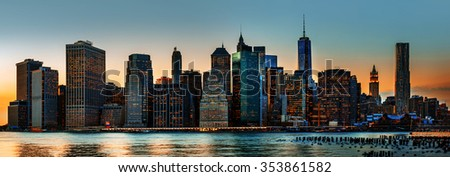 Manhattan. Evening New York City skyline panorama - stock photo