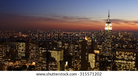 Manhattan evening skyline looking downtown